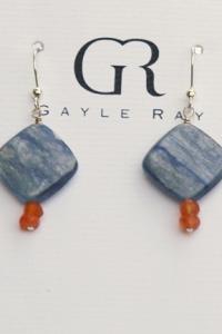 kyanite earrings w carnelian