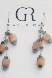 square sunstone earrings
