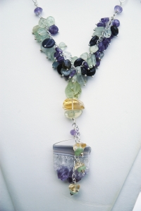 close up of amethyst and fluorite